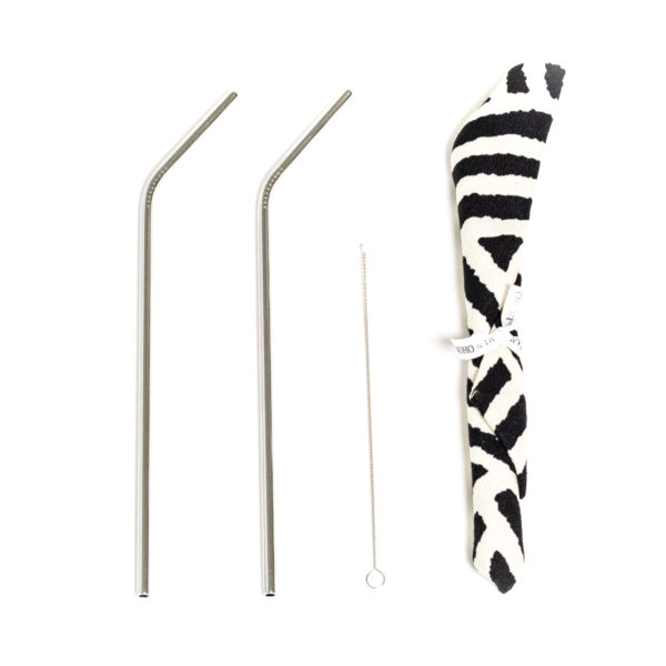 bent stainless steel straw kit